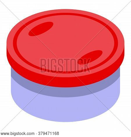Round Food Container Icon. Isometric Of Round Food Container Vector Icon For Web Design Isolated On