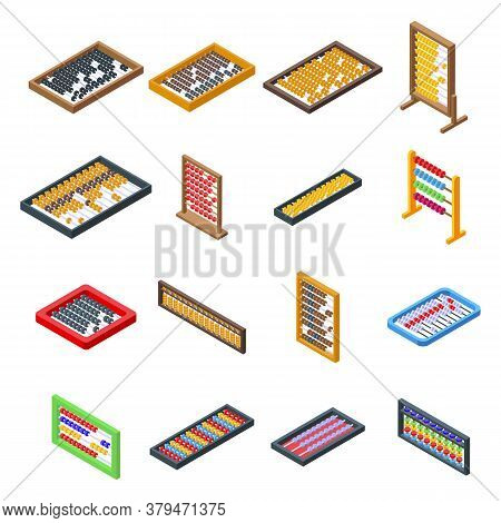 Abacus Icons Set. Isometric Set Of Abacus Vector Icons For Web Design Isolated On White Background