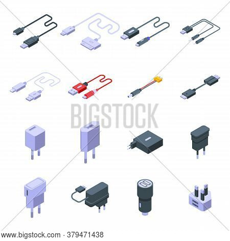 Charger Icons Set. Isometric Set Of Charger Vector Icons For Web Design Isolated On White Background