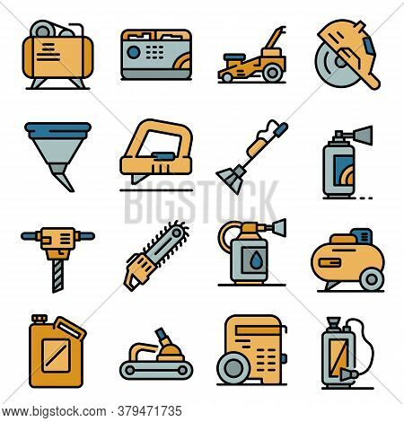 Gasoline Tools Icons Set. Outline Set Of Gasoline Tools Vector Icons Thin Line Color Flat On White