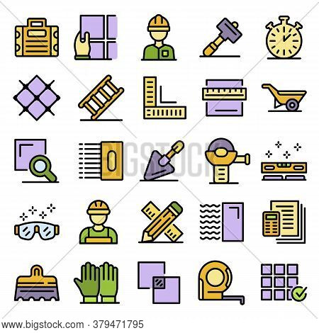 Tiler Icons Set. Outline Set Of Tiler Vector Icons Thin Line Color Flat On White