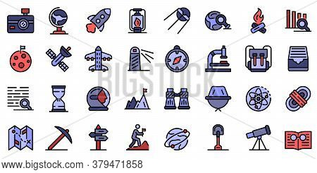 Exploration Icons Set. Outline Set Of Exploration Vector Icons Thin Line Color Flat On White