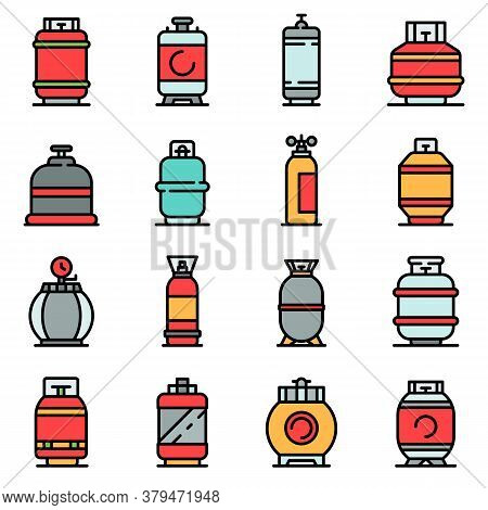 Gas Cylinders Icons Set. Outline Set Of Gas Cylinders Vector Icons Thin Line Color Flat On White