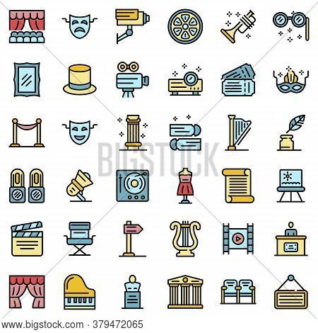 Theater Museum Icons Set. Outline Set Of Theater Museum Vector Icons Thin Line Color Flat On White