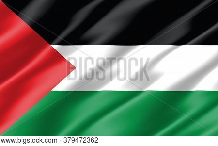 Silk Wavy Flag Of Palestine Graphic. Wavy Palestinian Flag 3d Illustration. Rippled Palestine Countr