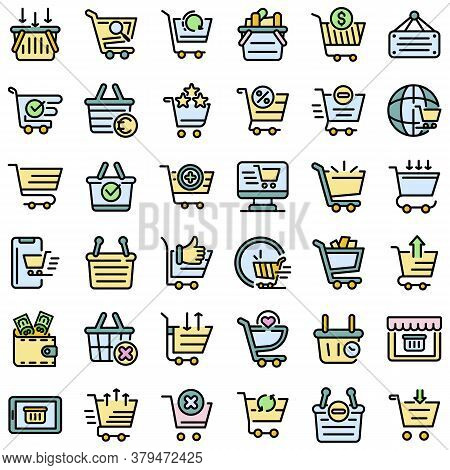 Cart Supermarket Icons Set. Outline Set Of Cart Supermarket Vector Icons Thin Line Color Flat On Whi