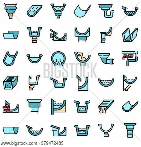 Gutter Icons Set. Outline Set Of Gutter Vector Icons Thin Line Color Flat On White