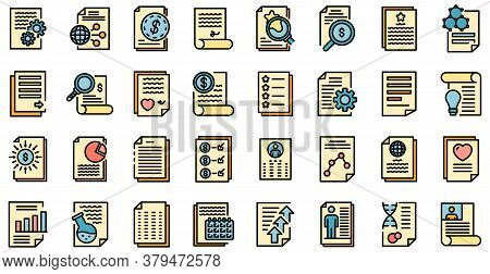 Reporter Icons Set. Outline Set Of Reporter Vector Icons Thin Line Color Flat On White