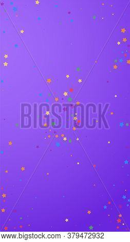 Festive Magnetic Confetti. Celebration Stars. Joyous Stars On Violet Background. Flawless Festive Ov