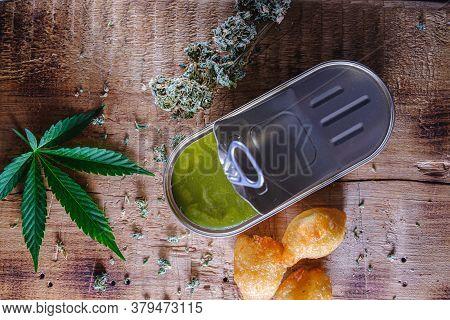 Balls Donuts From Medical Cannabis Butter, Sugar, Flour, Egg. Marijuana Buds. Medical Cannabis Butte