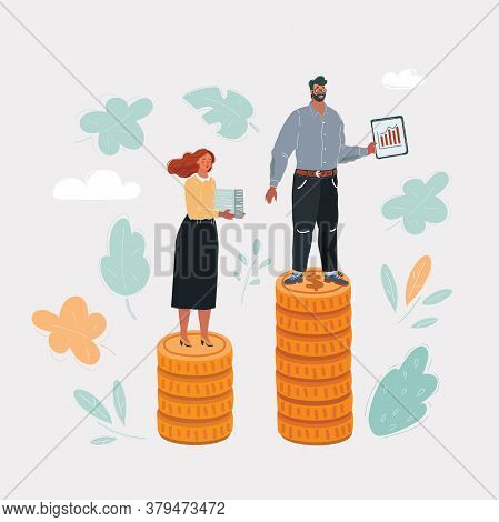 Vector Illustration Of Game Figurines On Stacks Of Euro Coins, Symbolizing The Concept Of Unequal Pa