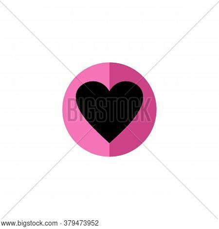 Heart Icon Vector With Colored Circle Isolated On White Background.heart Icon . Simple Heart , Love