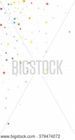Festive Trending Confetti. Celebration Stars. Joyous Stars On White Background. Fine Festive Overlay