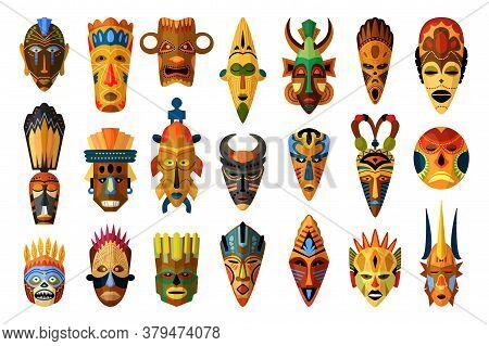 African Mask. Vector African Facial Masque. Masking Ethnic Culture In Africa Illustration. Tribal Af
