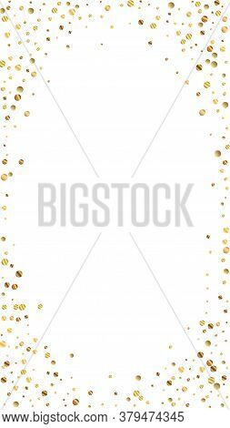 Festive Quaint Confetti. Celebration Stars. Sparse Gold Confetti On White Background. Favorable Fest