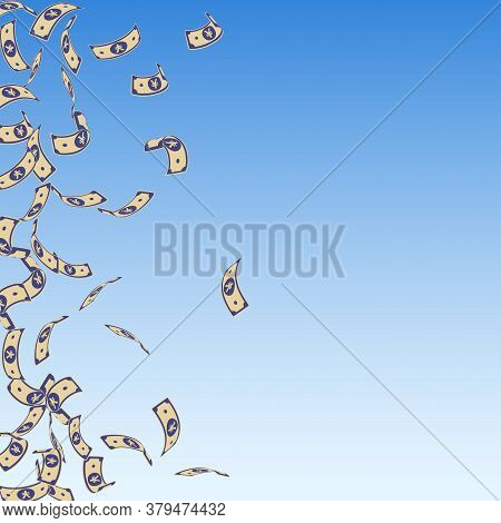 Chinese Yuan Notes Falling. Sparse Cny Bills On Blue Sky Background. China Money. Ecstatic Vector Il