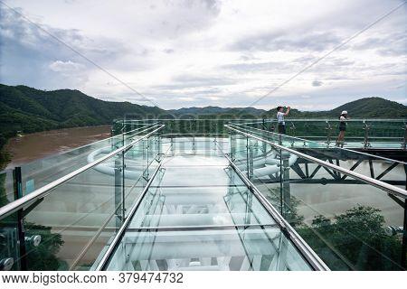 Chiang Khan,thailand-11 July,2020 : Tourist At Beautiful Sky Walk At Viewpoint New Landmark Thailand