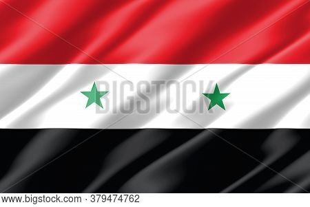 Silk Wavy Flag Of Syria Graphic. Wavy Syrian Flag 3d Illustration. Rippled Syria Country Flag Is A S
