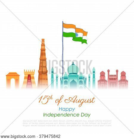 Illustration Of Famous Indian Monument And Landmark For Happy Independence Day Of India