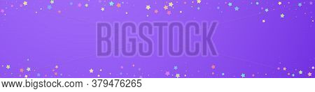 Festive Vibrant Confetti. Celebration Stars. Colorful Stars Random On Violet Background. Adorable Fe