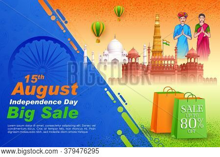 Illustration Of Famous Indian Monument And Landmark For 15th August Happy Independence Day Of India