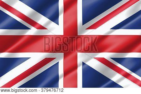 Silk Wavy Flag Of United Kingdom Graphic. Wavy British Flag 3d Illustration. Rippled United Kingdom