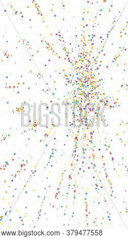Festive Amazing Confetti. Celebration Stars. Childish Bright Stars On White Background. Flawless Fes
