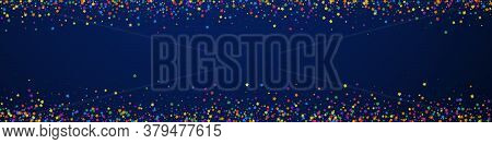 Festive Energetic Confetti. Celebration Stars. Childish Bright Stars On Dark Blue Background. Actual