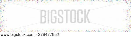 Festive Rare Confetti. Celebration Stars. Colorful Stars On White Background. Alive Festive Overlay