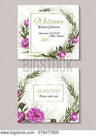 Decorative Wreath Of Eucalyptus Branches And Pink Peonies. . Glitter, Luxury Design With Gold Decora