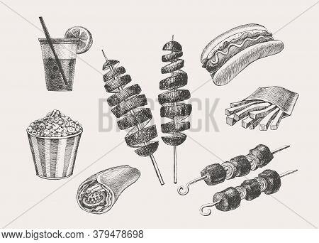 Drawn Set Of Street Food On Isolated Background. Popcorn, Kebab, Mexican Tacos, Fries, Hot Dog, Drin