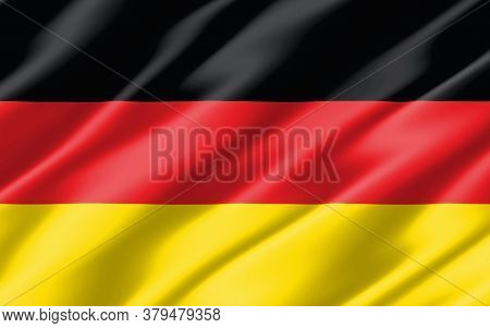 Silk Wavy Flag Of Germany Graphic. Wavy German Flag 3d Illustration. Rippled Germany Country Flag Is