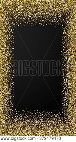 Gold Triangles Glitter Luxury Sparkling Confetti. Scattered Small Gold Particles On Black Background