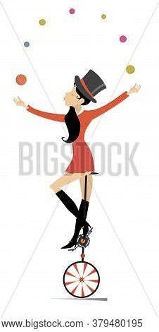 Equilibrist Woman On The Unicycle Juggles Balls Illustration. Sexy Young Woman In The Top Hat Balanc