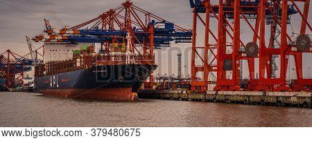 Hamburg, Germany - August 01, 2020: Container Terminal Eurogate Burchardkai In Hamburg, Loading And