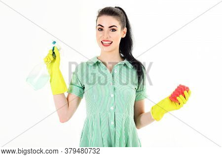 Housewife With Cheerful Face, Make Up And Cleaning Supplies.