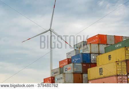 Hamburg, Germany - August 01, 2020: Iso Containers Of The Shipping Companies Msc, Hamburg Süd, Maers