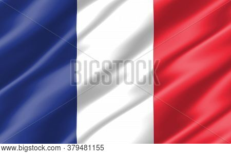 Silk Wavy Flag Of France Graphic. Wavy French Flag 3d Illustration. Rippled France Country Flag Is A