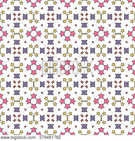 Cartoon Geometric Seamless Pattern. Fantasy Oriental Mosaic Background With Different Geo Shapes. Ar