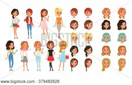 Teenage Girl Creation Set, Cute Girls In Fashionable Clothes With Various Haircuts, Faces, Poses Car