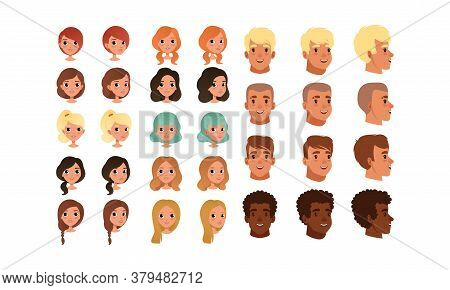 Cute Teenage Boys And Girls Heads Various Views And Haircuts Collection, Teen Children Creation Cons