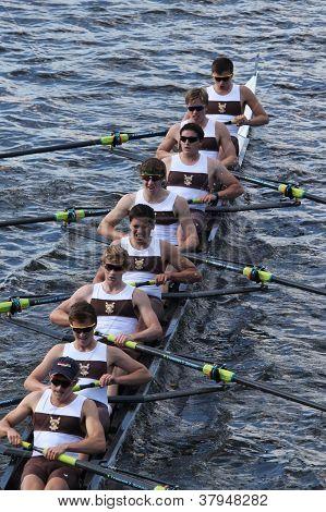Brunswick School Boat Club races in the Head of Charles Regatta