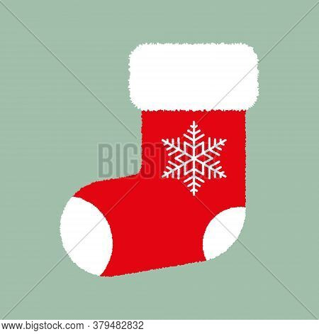 Red Fluffy Christmas Stocking With White Snowflake On Green Background. Vector Christmas Gift Sock.