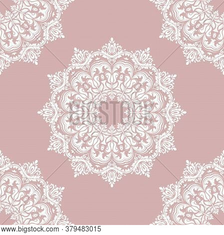 Classic Seamless Vector Purple And White Pattern. Damask Orient Ornament. Classic Vintage Background