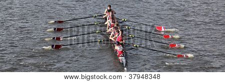 St. Augustine Prep High School races in the Head of Charles Regatta