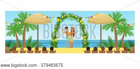 Open Wedding Ceremony On Tropical Beach Resort, Happy Newlyweds And Their Guests Cartoon Style Vecto