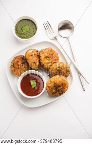 Indian Aloo Tikki Or Potato Cutlet Is Made Out Of Boiled Potatoes, Peas, And Various Curry Spices.