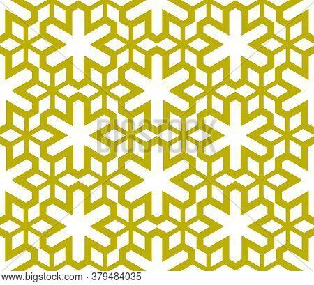Cartoon Geometric Linear Seamless Pattern. Fantasy Oriental Mosaic Background With Different Geo Sha