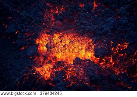 Hot And Cold Parts Of Lava, Pacaya Volcano, Guatemala, Top Of The Mountain