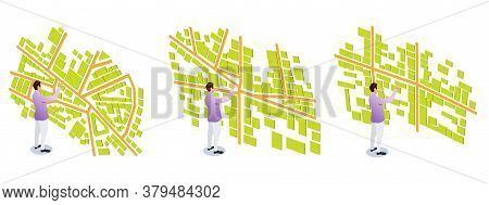 Man And Isometric Map. Map Mobile App Planning Travel. City Map For Navigational System. Fictional D